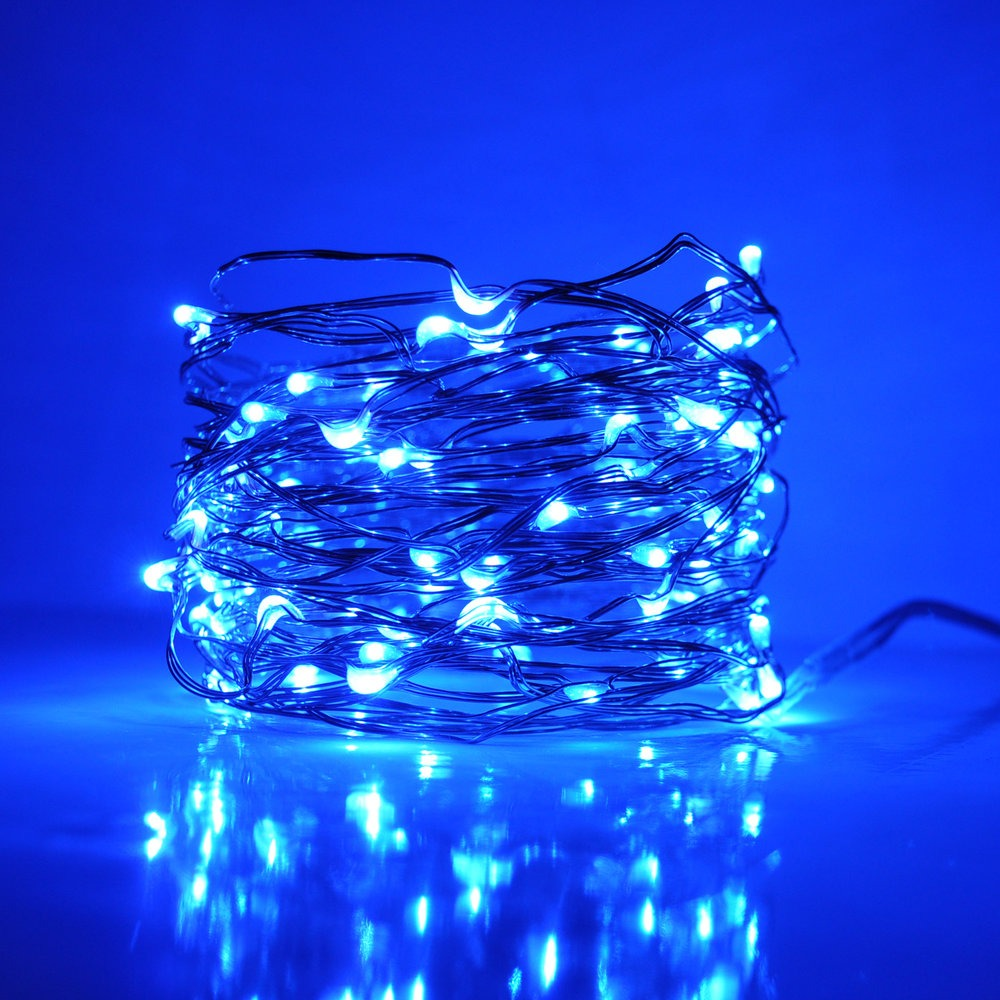 33 Foot Plug In Led Fairy Lights 100 Blue Micro Led
