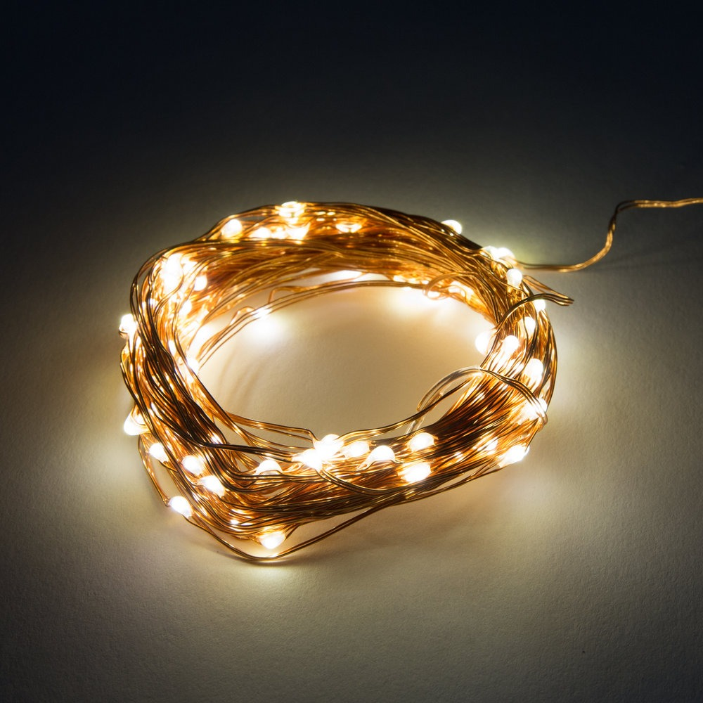 33 Foot Battery Operated Led Fairy Lights Waterproof With 100 Warm White Micro On Silver Wire