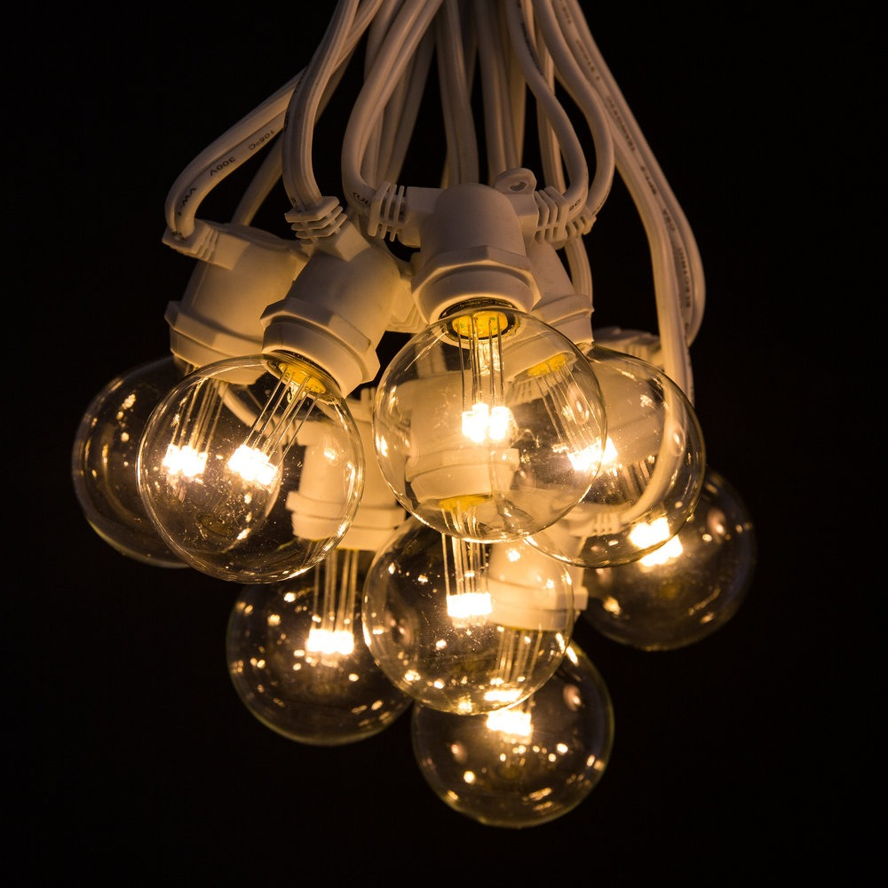 C9 Commercial String Light Sets White Wire With G50 Led 6 Watt Warm Bulbs Hometown Evolution Inc