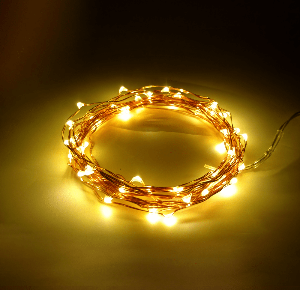 6 Foot Battery Operated Led Fairy Lights Waterproof With 20 Yellow Micro On Copper Wire