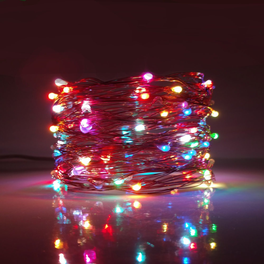 33 Foot Plug In Led Fairy Lights 100 Multicolor Micro
