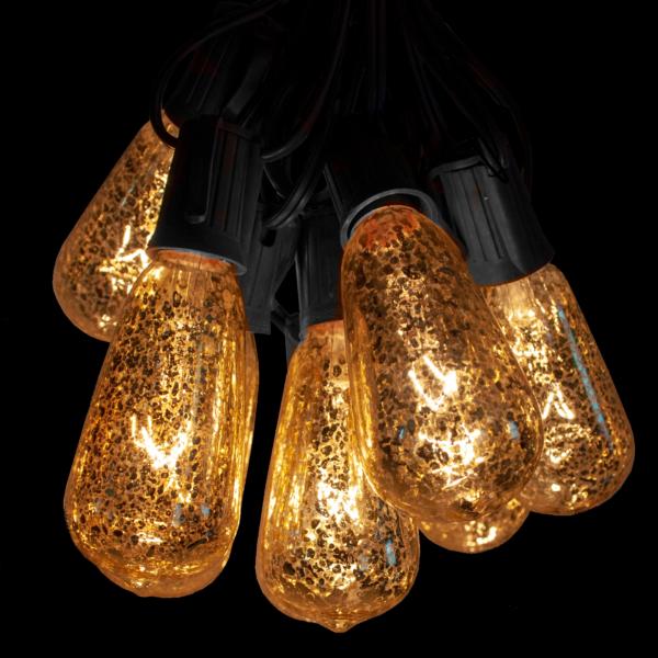st40 mercury glass bulbs on black wire