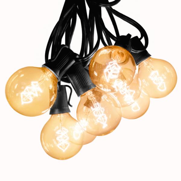 G50 edison string lights lit
