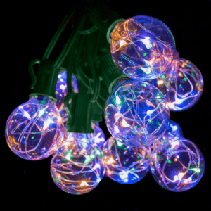 g40 fairy color globe lights on green wire