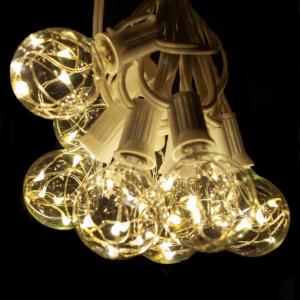 g40 warm white fairy bulbs on white wire